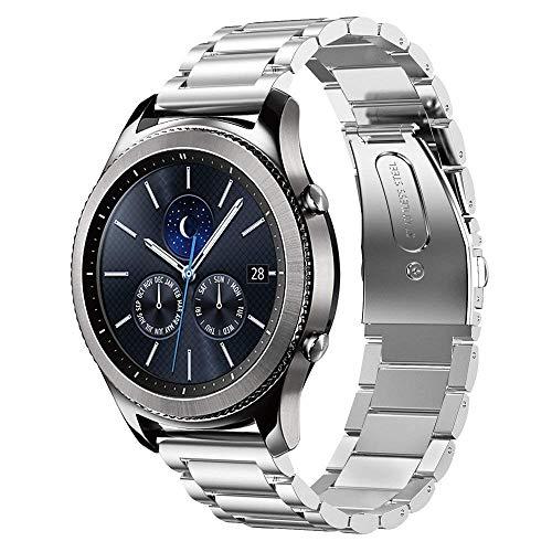 SUNDAREE Kompatibel mit Gear S3 Classic Armband,22mm Silber Metall Armband Edelstahl Ersatz Uhrenarmband für Samsung Gear S3 Classic SM-R770/Huawei Watch GT 2 46MM/Amazfit GTR 2/GTR 47MM(S3 Silber)