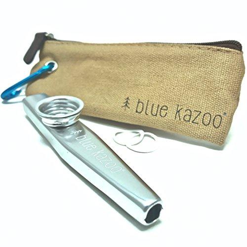 The Original Blue Kazoo | Ultralight Aluminum Backpacking Kazoo | Canvas Bag and Carabiner