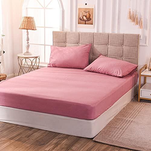 CYYyang Protector de colchón de bambú Funda de colchón y Ajustable Hoja de Cama de Color Puro Pasta de Frijol Rojo a Prueba de Polvo de una Sola Pieza_150x200x25cm