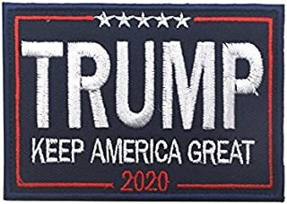 Trump 2020 Morale Sewn On Patch Make America Great Again Tactical Military Army Gear Embroidered Hook&Loop Fastener Backing Emblem Collectable Patches (Trump 2020(Blue))