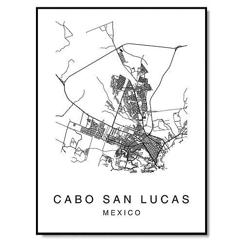 Cabo San Lucas Map Wall Art Poster Print Mexico City Map Street 8x10 Black & White