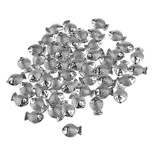 rosenice 50 Stück Spacer Bead Perlen Silber Fisch Charm für Schmuckherstellung