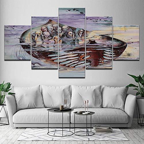 Baobaoshop 5 Panel Leinwand Vintage Holzboot Menschliche Wandkunst Leinwand Druck Poster Home Decoration 5 StüCk Modulare Malerei Wohnzimmer Kunstwerk Ungerahmt-30x40 30x60 30x80cm