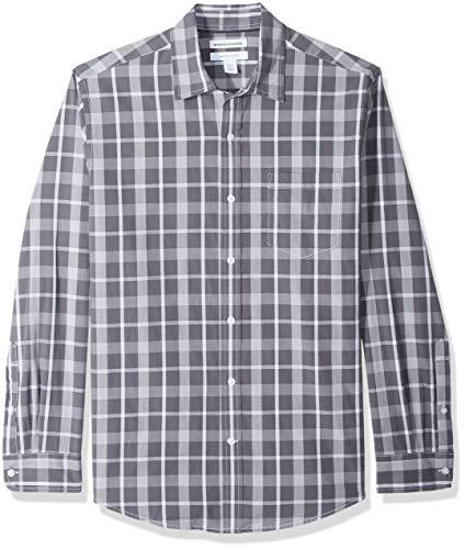 Amazon Essentials Men's Regular-Fit Long-Sleeve Casual Poplin Shirt, Charcoal, X-Large
