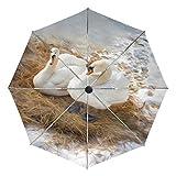 Paraguas de Viaje pequeño a Prueba de Viento al Aire Libre Lluvia Sol UV Auto Compacto 3 Pliegues Cubierta de Paraguas - Invierno Campo de Nieve cisnes Blancos descansando
