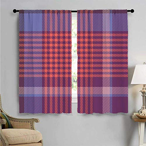 jecycleus Checkered 99% blackout curtains Retro British Irish Cultural Pattern of Tartan Abstract Celtic Design For bedroom kindergarten living room W96 x L96 Inch Purple Lavender Orange