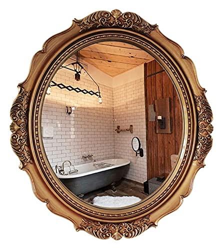 AMDHZ Espejo de Pared Redondo Antiguo |Espejo de Maquillaje Circular para dormitorios, vestidores, Salones |Estilo Barroco de Espejo de decoración Vintage, marrón Espejo para maquillarse