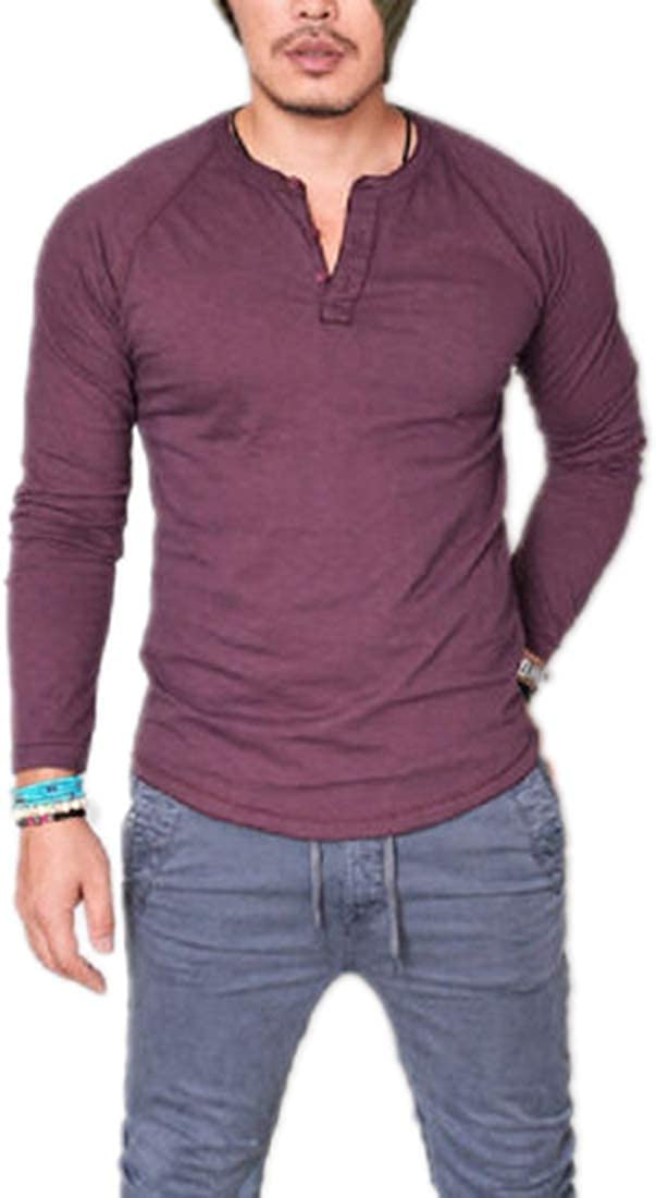 Sushine Mens Casual Long Sleeve T Shirt Raglan Henley Baseball Shirts for Men S-XXXL