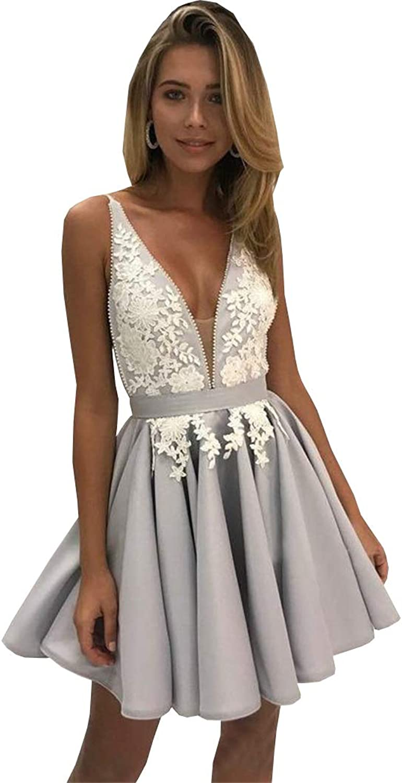 Ellystar Gorgeous Arabic Homecoming Dresses Deep VNeck Short Graduation Gowns