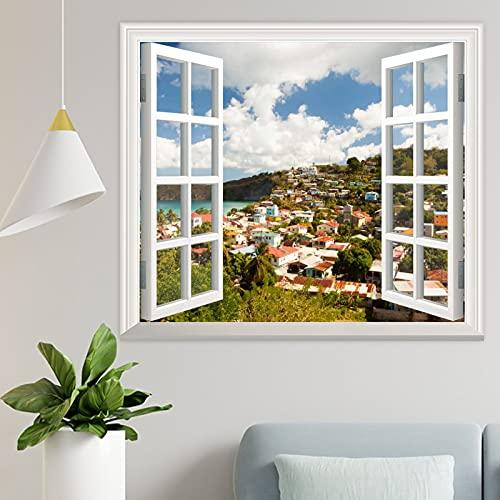 Adhesivo decorativo para pared con diseño de nubes de las Islas Canarias en 3D, para pared, diseño de paisaje tropical, océano, playa, elegante, para sala de estar, dormitorio, gimnasio