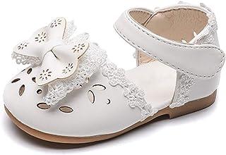 DEBAIJIA Bebé Niña Zapato de Princesa con Cinta Mágica para 1-3 años Niños Primeros Pasos Zapatos de Cuero con Lazo Moda C...