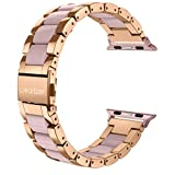 Wearlizer Compatible with Apple Watch Band 38mm 40mm Fashion Wristbands Womens for iWatch SE Stainless Steel and Resin Replacement Metal Clasp Strap, Series 6 5 4 3 2 1 Sport-Dark Rose Gold+Pink