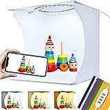 Caja Luz Estudio Fotográfico 23x23x24cm Mini Photo Studio Portátil Plegable 64 LED Brillo Ajustable con Luz Blanca / Suave / Cálida, 6 Colores de Fondos para Fotografia