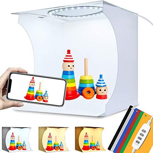 Mini Foto-Box Fotostudio Tragbares 20x20cm, Faltbare Tischplatte Foto Lichtzelt Kit mit 64 LED Beleuchtung Dimmbare 3200K/6500K, 6 Fotografie Hintergrund
