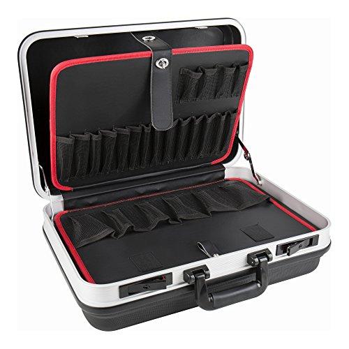 STIER Werkzeugkoffer Basic leer, ABS-Kunststoff Kofferschale, schwarze Werkzeugkiste, stabil & schlagfest, Tragkraft 15 kg, 30 Werkzeugtaschen, inkl. Schlüssel