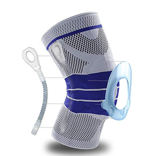 Knee Brace, Knee Support Compression Sleeve with Side Stabilizers + Silicone Patella Gel Pad for Meniscus Tear,Arthritis,Jogging,Sports,Running Men Women(Single) (Gray, Large) … …
