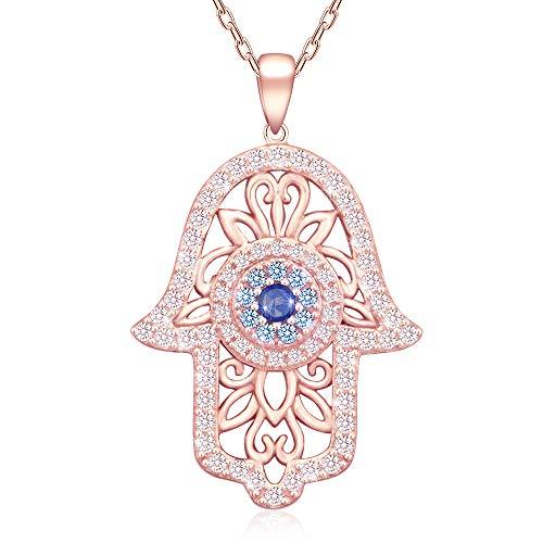 Collar con colgante de mano de Fátima y ojo de Fátima de plata de ley 925, chapado en oro rosa, estilo vintage, con colgante de mano de Fátima y buena suerte para mujer