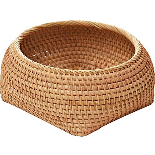 Cesta de mimbre hecha a mano, se utiliza para la cocina, comida, desayuno, fruta de estilo retro, decoración para el hogar (tamaño: M)