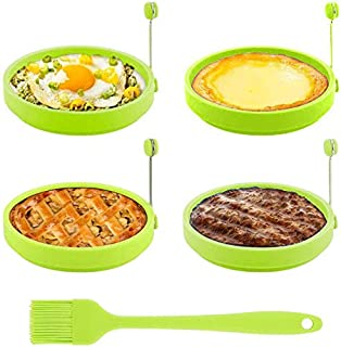 Egg Ring, TGJOR Egg Cooking Rings, Round Pancake Mold, Non Stick Silicone Ring for Eggs, 4 Pack Reusable Fried Egg Mold wi...
