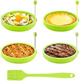 PREMIUM MATERIAL: TGJOR egg rings are made of high quality silicone, high temperature resistance, no deformation, no discoloration, you can use it with confidence. MULTI-FUNCTIONS: TGJOR round pancake mold possesses perfect size for making delicious ...