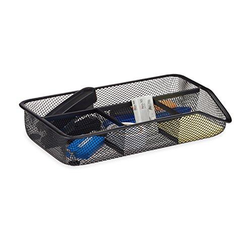 Relaxdays Organizador de Escritorio con 4 Compartimentos, Metal, Negro, 16x27.5x4.8 cm