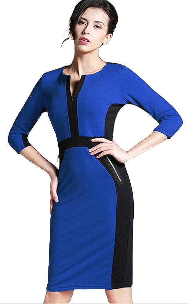 HOMEYEE Women's Stretch Tunic Pencil Sheath Dress U837