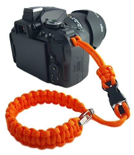 Paracord Kamera-Handschlaufe - klick-Verschluss - ORANGE - für DSLR SLR Kompakt-Kamera Handgelenkschlaufe Kameraschlaufe Kameraband Trageschlaufe Armband - MIND CARE ESSENTIALS