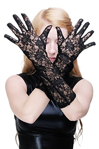 Dress Me Up Karneval Cosplay Burlesque Handschuhe Netzhandschuhe Spitze Spitzenhandschuhe Lang Schwarz Gothic Z076
