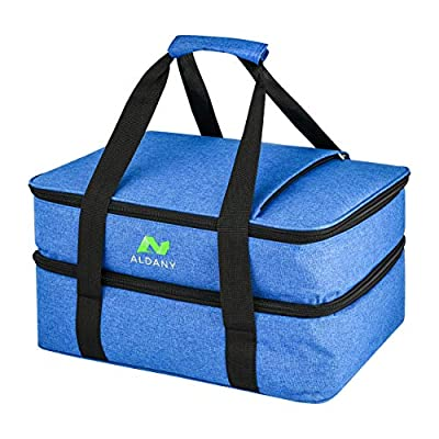 Double expandable insulated casserole carrier, easily fits two 9x13 baking dish and comes with two hot and cold pads