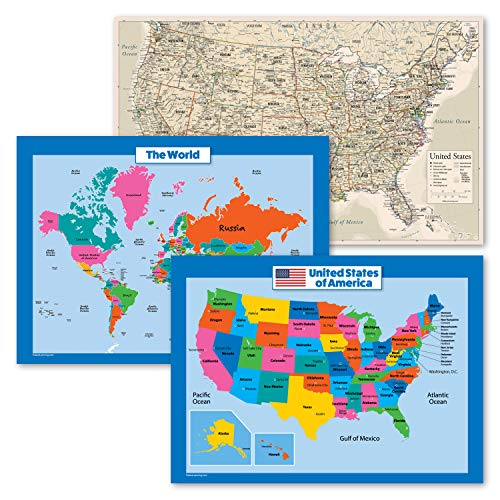 3 Pack - USA & World Map for Kids + Antique Style USA Map Poster Set (Laminated, 18' x 24')