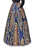 930 - Plus Size Ethnic African Print Long Maxi Skirt (1X, Paisley)
