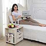 Emall Life Upgraded Multifunctional Height Adjustable Overbed End Table Wooden Nightstand with Swivel Top, Storage Drawers, Wheels and Open Shelf, 3 Colors (White Maple)