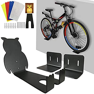 Bike Wall Mount Horizontal Bike Hanger -Bike Rack for Garage Indoor Shed Heavy Duty 66 lbs Storage System Bicycle Rack Wall Metal Hook for Road Mountain Hybrid Bikes, with 8 Reflective Stickers