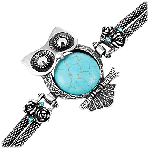Urban-Jewelry Atemberaubendes Eule Tibet türkises Manschetten Armband Eule Vintage Schmuck