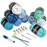 Lana para ganchillo – Pack de 10 ovillos de lana para tejer, hilo de algodón de colores, incluye 15 accesorios trenzados para tejer doble, ganchillo y artesanía – 10 colores (50 g cada uno)