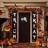 Vosarea Portico Sign,Halloween Banner Trick or Treat Dolcetto o scherzetto Decorazioni per feste Porta Anteriore Portico Parete Vacanza Decorazione (Nero)
