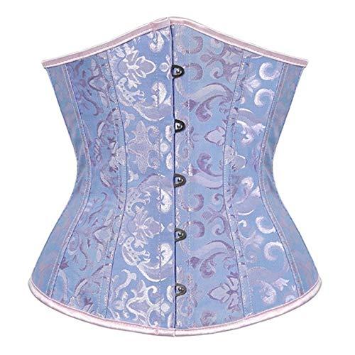 SxyBox Damen Satin Lace Up Korsett Unterbrust Waist Trainer Corsage Bustiers Shapewear,Blau,L