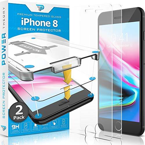 Power Theory Panzerglas kompatibel mit iPhone 8 [2 Stück] - Schutzfolie mit Schablone, Panzerglasfolie, Panzerfolie, Glas Folie, Displayschutzfolie, Schutzglas