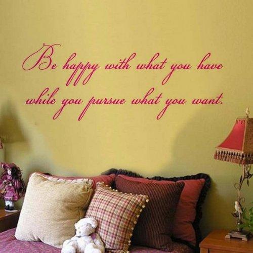 Windsor Designers Sticker Mural – être Heureux avec ce Que Vous Avez. Décoration Murale Chambre à Coucher Salon Décor de Cuisine, Violet, S - 60 x 30 cm