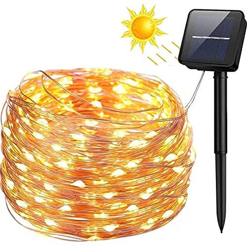 Guirnalda Luces Exterior Solar, 200LED 20m 8 Modos Cadena de Luces de Alambre de Cobre,Guirnaldas Luminosas Solar Impermeable para Navidad, Fiestas, Bodas, Patio, Jardines(Blanco Cálido)