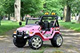 First Drive Wrangler Truck - 12v Dual Motor Kids Electric Ride-On Car with Remote Control, MP3 Playback, Aux Cord, Premium Wheels - Pink