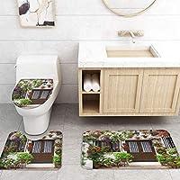 ZGDPBYF 浴室用アップホームバスマット植物花グリーンストーンプリントバスマットシャワーフロア用カーペットバスタブマット