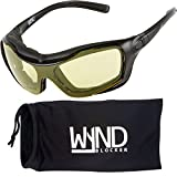 WYND Blocker Large Motorcycle Riding Glasses Extreme Sports Wrap Sunglasses, Black, Yellow Night Driving