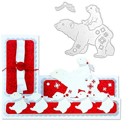 Plantillas de metal con diseño de oso polar para manualidades, álbumes de recortes, tarjetas de papel, álbumes de fotos, decoración artística multicolor