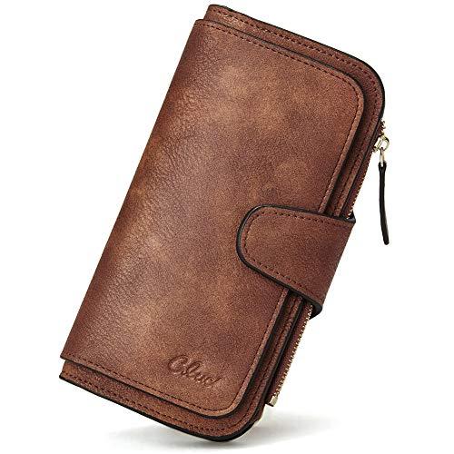Wallet for Women Leather Designer Bifold Long Ladies Credit Card Holder Organizer Ladies Clutch Brown
