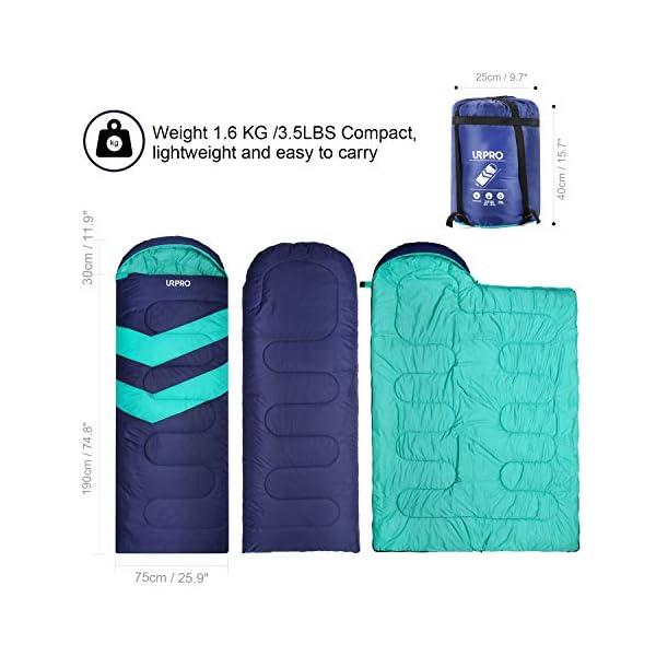URPRO Saco de dormir, sobre desplegado tamaño es de 220 x 75 cm con 3 temporadas funda para saco de dormir invierno… 2