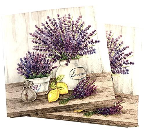 20-ct 13x13 Pots of Lavender Napkins Floral Napkins Decorative Paper Napkins...