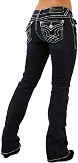 LA Idol Classic Rhinestone Studded Dark Blue Denim Bootcut Jeans 0-15