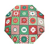 Paraguas de Viaje Compacto Calendario de adviento de Navidad con Apertura automática, Resistente al Viento y a los Rayos UV