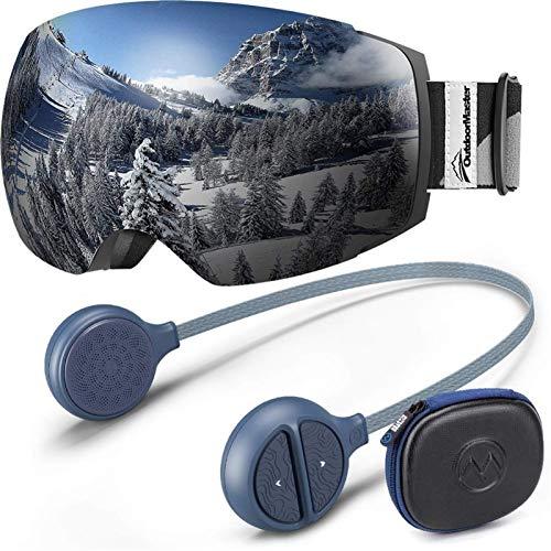 Chunjiao Outdoormaster Ski-Goggles Pro-Bündel mit Ski-Wireless-Kopfhörer für Audiobereitschaftshelm Skibrille (Color : Black)